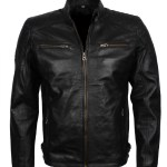Mens Black Genuine Leather Quilted Jacket USA