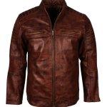 Mens Cafe Racer Brown Vintage Leather Jacket
