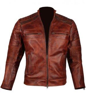 Mens Vintage Cafe Racer Biker Genuine Leather Jacket Sale