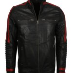 Red and Black Cafe Racer Leather jacket USA
