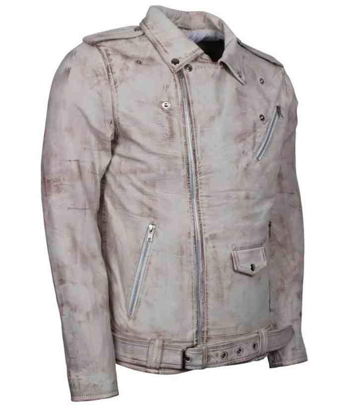 Iconic White Waxed Vintage Biker Jacket