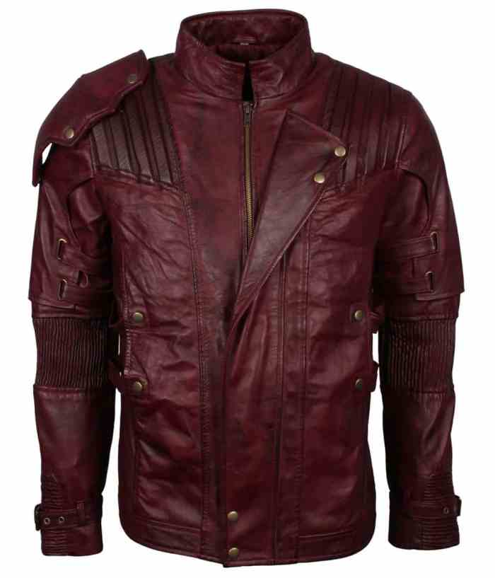 Star Lord Maroon Genuine Leather Jacket Sale
