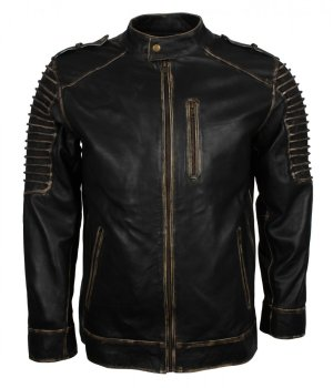 Scare Crow Mens Distressed Hooded Leather Jacket