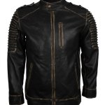 Scare Crow Mens Distressed Hooded Leather Jacket Sale