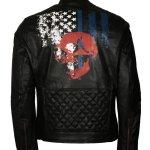 American Skull Man Black Motorcycle Leather Jacket Sale