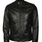 American Skull Man Black Motorcycle Leather Jacket Sale1