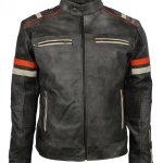 Vintage Retro Men Grey Tough Motorcycle Leather Jacket