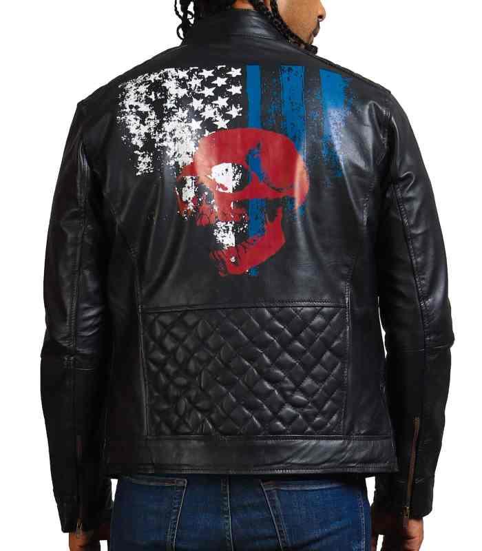 American Skull Men Cowhide Motorcycle Leather Jacket Sale