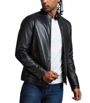American Skull Men Cowhide Motorcycle Leather Jacket