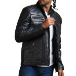 Classic Men Black Quilted Motorcycle Leather Jacket Sale