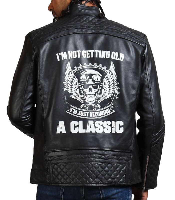 Classic Men Black Quilted Motorcycle Leather Jacket
