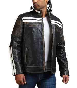 Designer Men Distressed Black Leather Jacket
