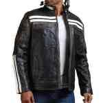 Designer Men Distressed Black Leather Jacket Sale