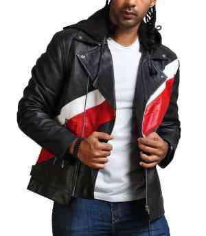 Hooded Mens Black Genuine Leather Jacket