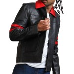 Iron Skull Men Black Real Leather Jacket Sale