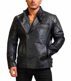 Men Cowhide Black Skull Motorcycle Leather Jacket Sale