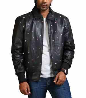 Men Icecream Printed Real Leather Jacket