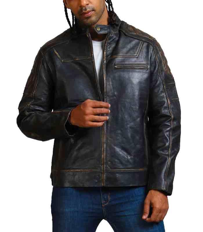 Moto Black Distressed Fashion Quilted Biker Leather Jacket Sale