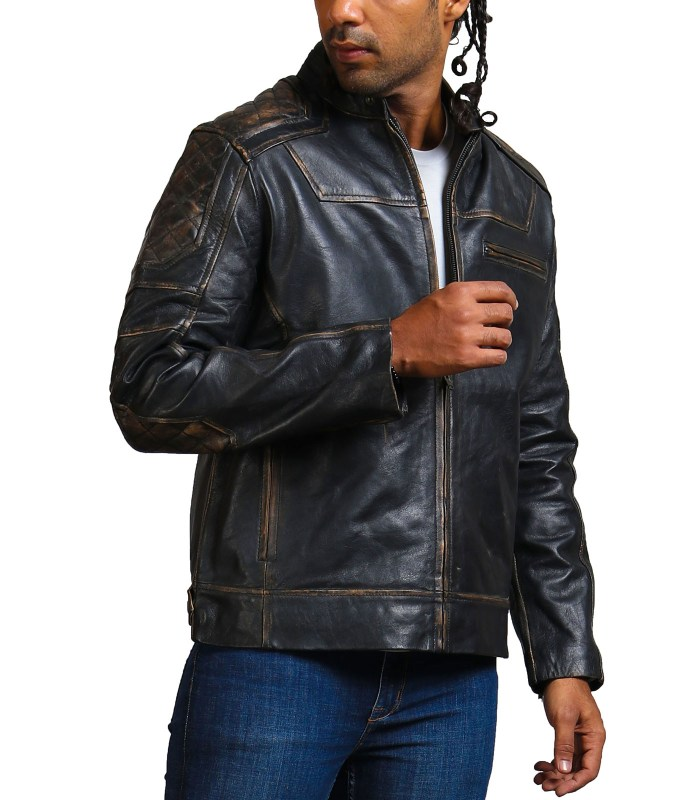 Moto Black Distressed Fashion Quilted Biker Leather JacketMoto Black Distressed Fashion Quilted Biker Leather Jacket