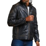 Moto Black Distressed Fashion Quilted Biker Leather Jacket
