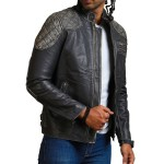 New Skull Men Distressed Black Motorcycle Leather Jacket Sale