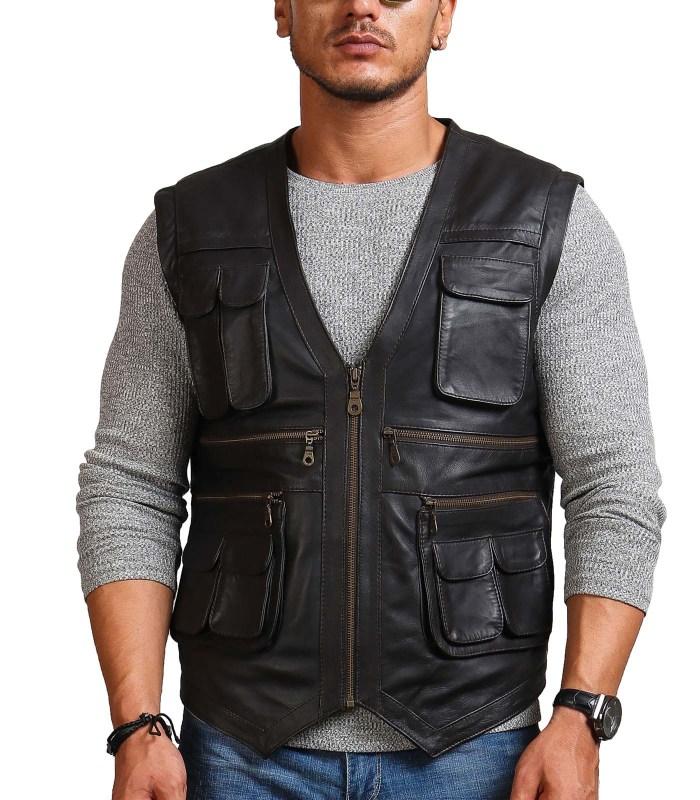 Chris Pratt Man Black Leather Vest