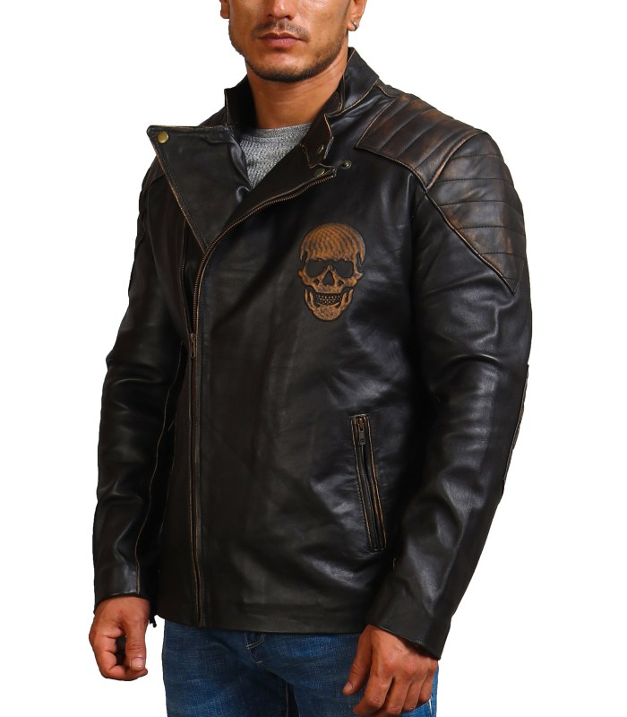 Ride Skull Motorcycle Cowhide Leather Jacket For Sale USA