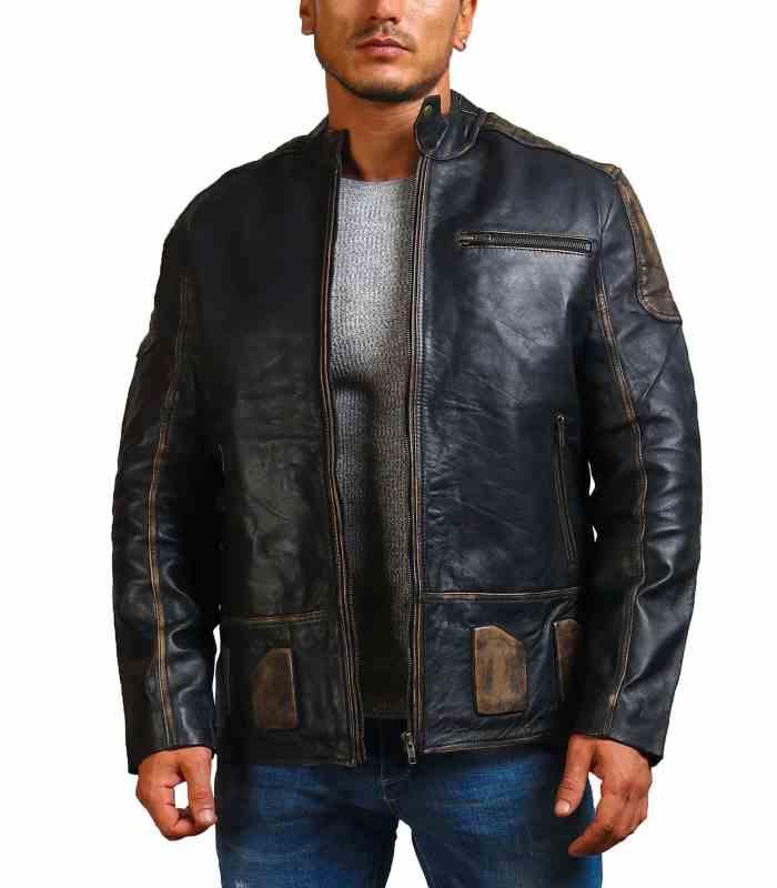 Dodge Distressed Black Leather Motorcycle Jacket