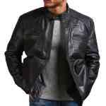 Garcia Mens Cafe Racer Black Leather Jacket Sale