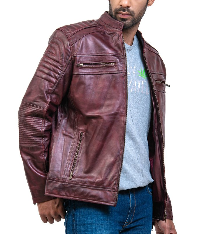 cafe Racer Leather Jacket For Sale Free Shipping USA and UK