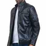 Cafe Racer Men Black Leather Jacket