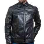 Cafe Racer Men Black Leather Jacket Sale USA Sale