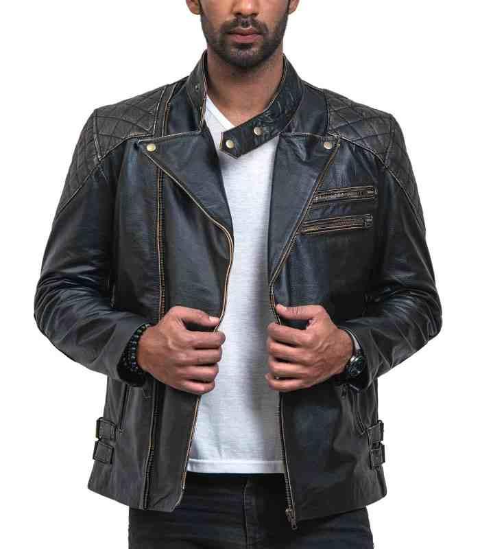 Skull Leather Distressed Cowhide Motorcycle Jacket Sale