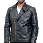 Skull Leather Distressed Cowhide Motorcycle Jacket Sale USA