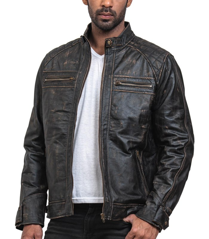Men Distressed Black Leather Biker Jacket