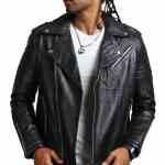 Mens Black Boda Biker Leather Jacket