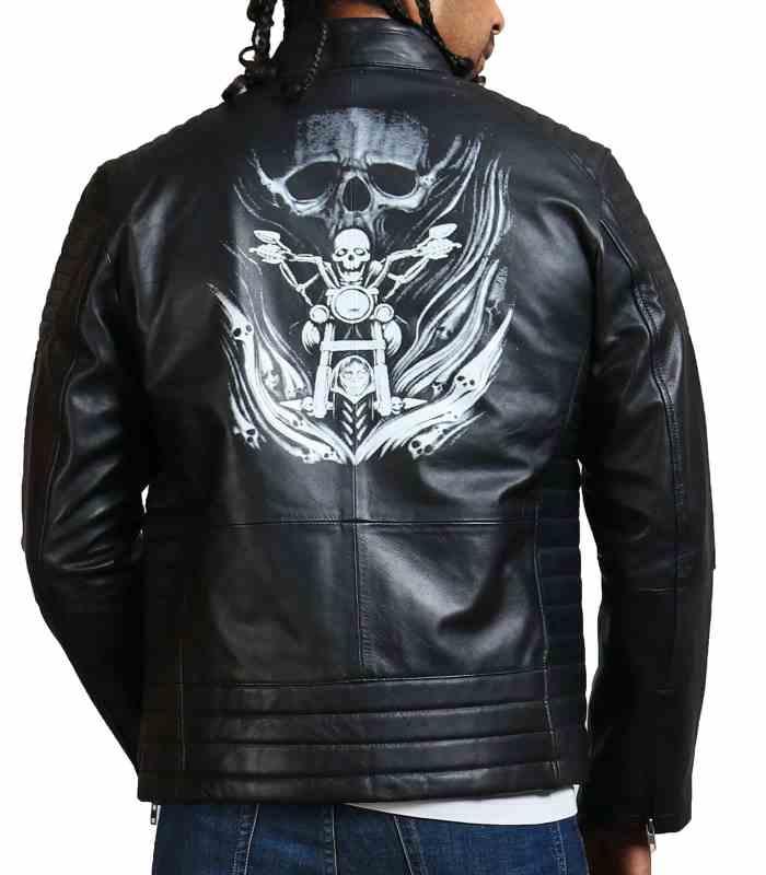Riding Skeleton Boda Biker Leather Jacket