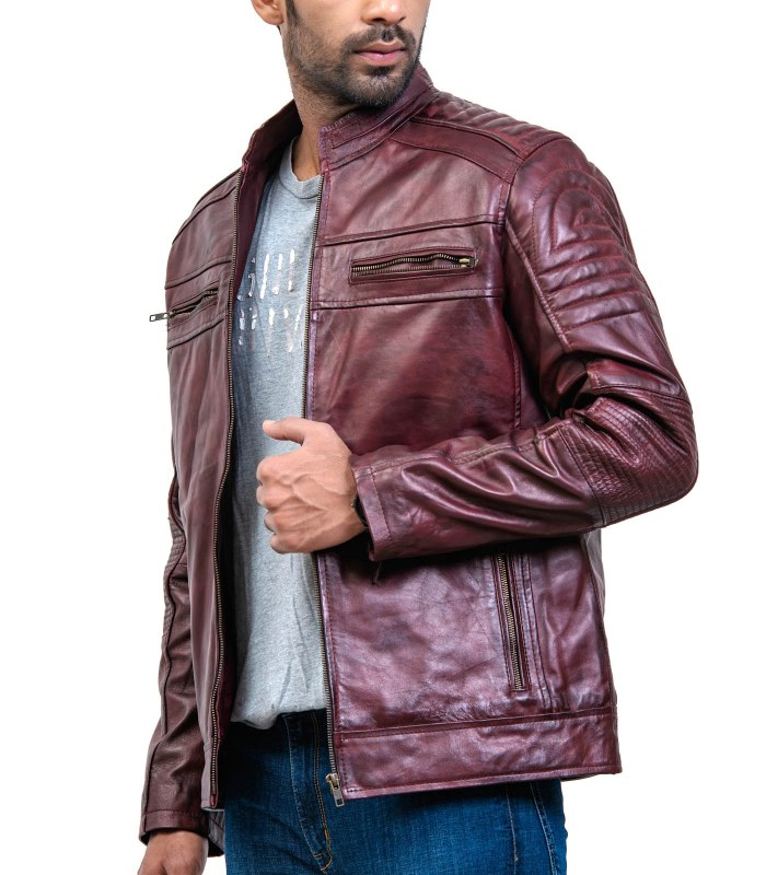 Vintage Maroon Waxed Cafe Racer Leather Jacket