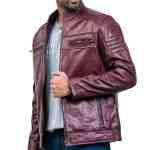 Vintage Maroon Waxed Cafe Racer Leather Jacket Sale USA