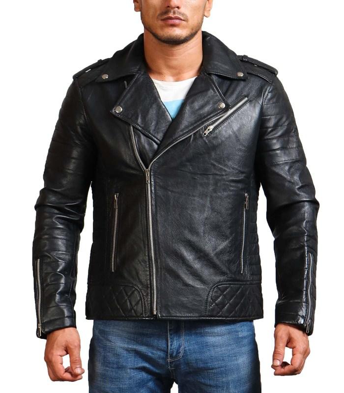 Boda Black Men Cowhide Biker Leather Jacket