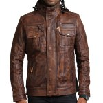 Vintage Brown Men Detachable Fleece Leather Jacket Online