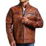 Cafe Racer Vintage Brown Cowhide Motorcycle Jacket Sale USA