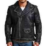 Double Sword Skull Black Distressed Leather Jacket