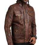 Vintage Brown Men Detachable Fleece Leather Jacket Sale