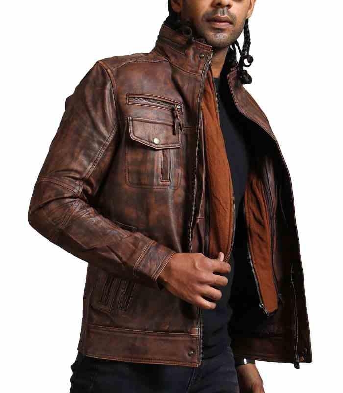 Vintage Brown Men Detachable Fleece Leather Jacket