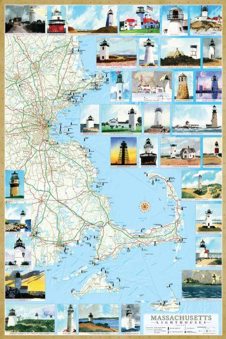Massachusetts Lighthouse Maps  Illustrated guide map to