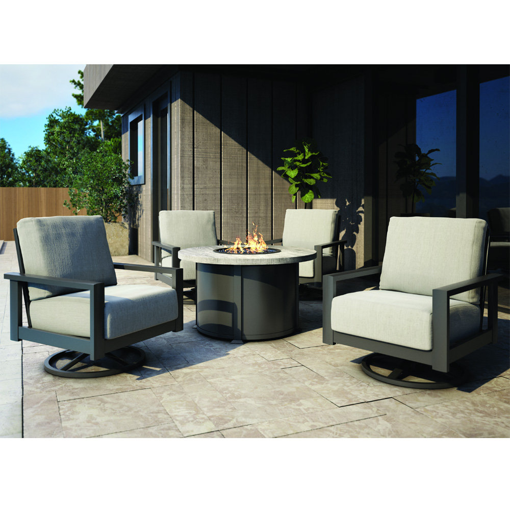 homecrest elements cushion swivel rocker chairs with timber fire table patio set