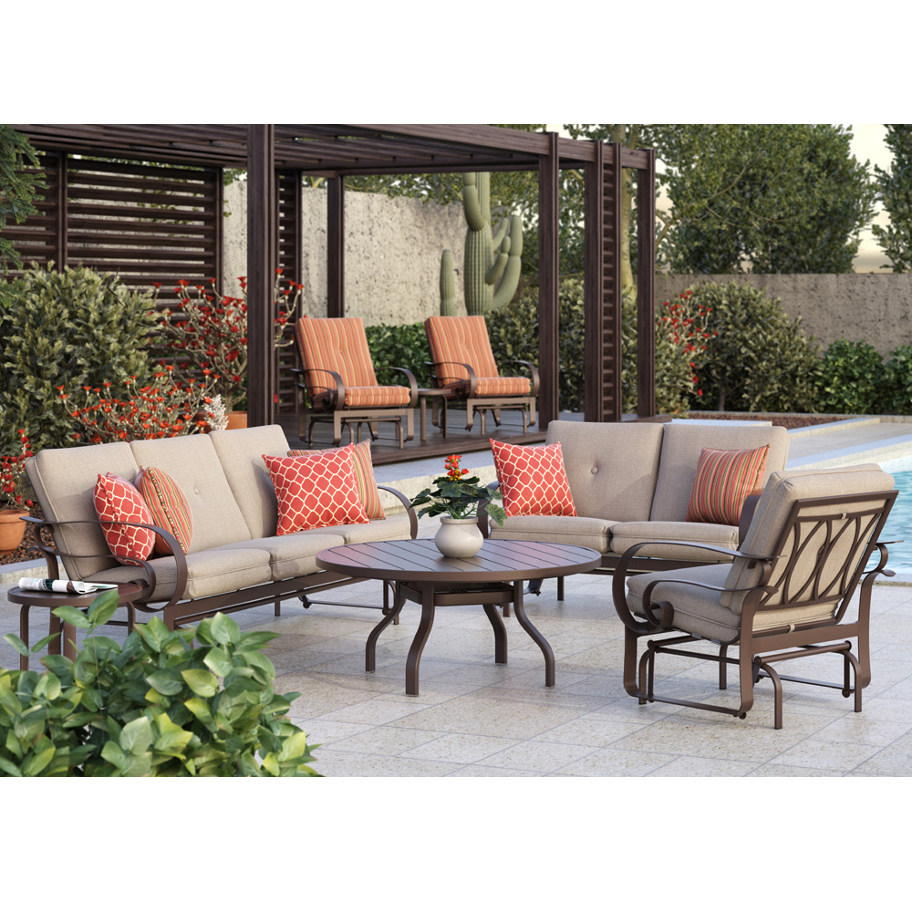 homecrest emory cushion sofa glider patio set