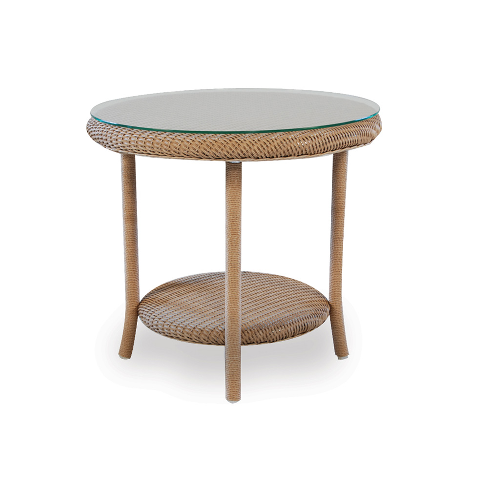 lloyd flanders 24 round end table with woven top and lay on glass