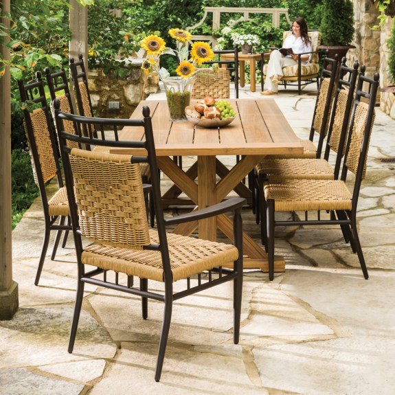 lloyd flanders low country 9 piece woven vinyl patio dining set